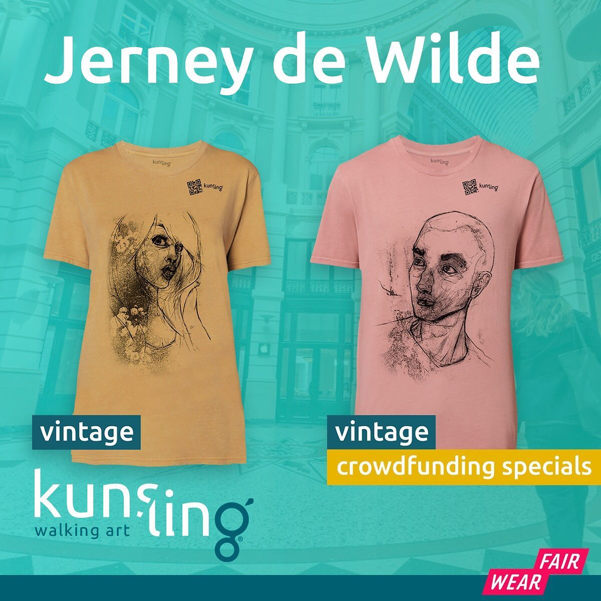 I would like to make some noise for a supercool project I'm a part of: Kunsling! Organic and sustainable clothing with quality prints of fine art pieces, linked to original art by QR. At the moment we are doing a Crowfdfunding at @voordekunst to start it all up with a selection of shirts/hoodies/longsleeves and these two are available with my designs! Go get them or one of the other cool designs and support this project :) Thank you! 🧡Go to https://www.kunsling.nl/fundraiser/ or check out @kunslingstore for more info :)#sustainablefashion #walkingart #tshirts #voordekunst #fundraiser #buylocal #supportsmallbusiness