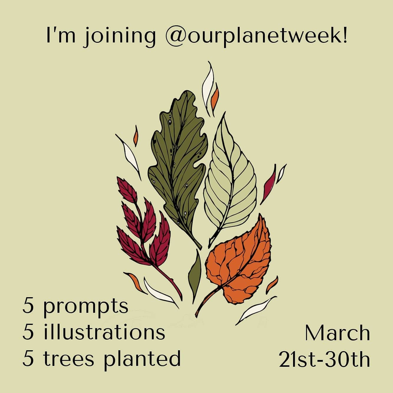 I'm joining @ourplanetweek ! A global art project with 5 prompts, to create 5 illustrations. For every illustration made and posted with the tags, a tree will be planted 🌳! Will you join me?#letsdrawthechange #ourplanetweek #onetreeplanted
